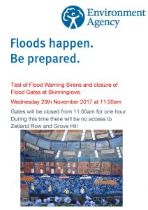 Siren test poster for flooding in Skinningrove