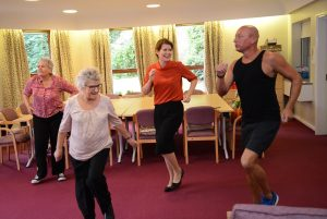 Darlington MP Jenny Chapman joins in with an aerobics class at supported housing scheme Worsley Park