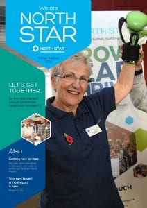 Front cover of the winter 2018 tenant magazine showing an image of a tenant at the annual conference with boxing gloves